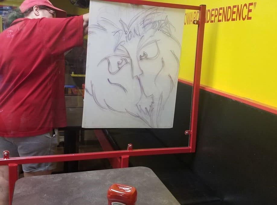 Drawing on Plexiglass Partition Divider